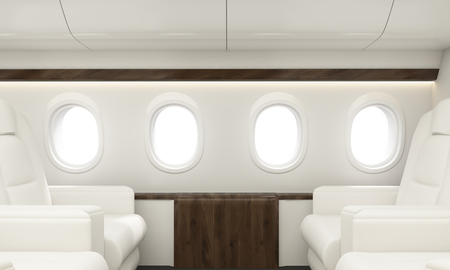 first class: Four portholes in white airplane interior. 3D Rendering Stock Photo
