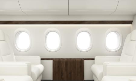 Four portholes in white airplane interior. 3D Rendering Stock Photo