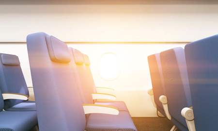 toned: Side view of blue seats in airplane interior with white wall and porthole. Toned image, 3D Rendering