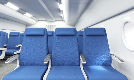 economy class: Front view of blue seats in bright airplane interior. 3D Rendering