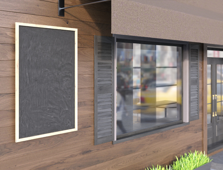 blank chalkboard: Closeup of blank chalkboard on brown plank cafe exterior. Mock up, 3D Rendering