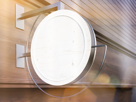 stopped: Light round stopped on dark wooden building. Toned image. Mock up, 3D Rendering Stock Photo