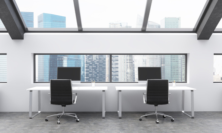 frontview: Frontview of workplaces in concrete coworking area with Singapore city view. 3D Rendering Stock Photo