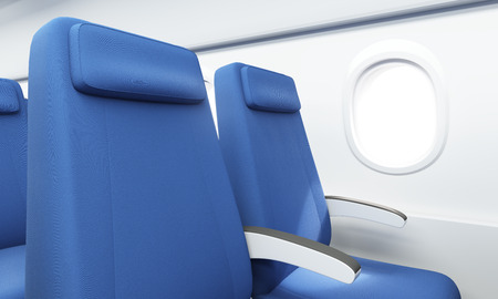 aisle: Closeup of blue seats in airplane interior with white wall and porthole. 3D Rendering