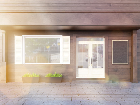 outdoor dining: Brown plank cafe exterior with blank chalkboard. Toned image. 3D Rendering