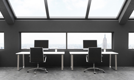 frontview: Frontview of workplaces in black coworking area with New York city view. 3D Rendering