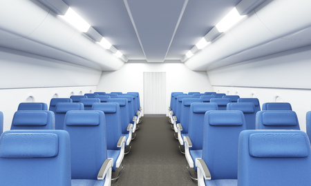 aisle: Modern bright airplane interior with two rows of blue seats. 3D Rendering Stock Photo