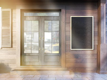 toned: Closeup of cafe exterior with blank chalkboard hanging next to door. Toned image. Mock up, 3D Rendering