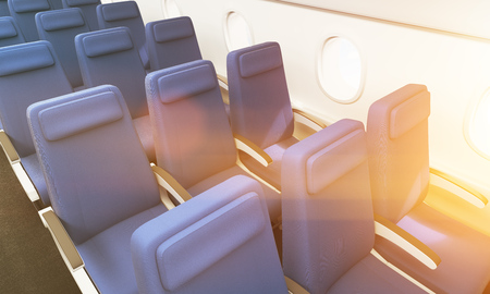 Airplane interior with blue seats and portholes. Toned image, 3D Rendering