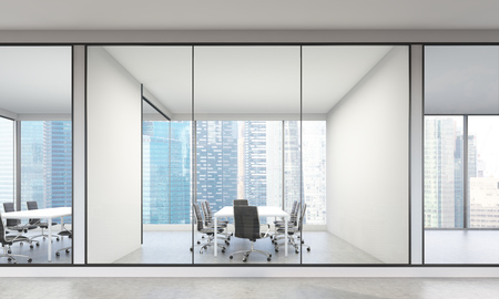frontview: Modern office interior with Singapore city view. 3D Rendering Stock Photo