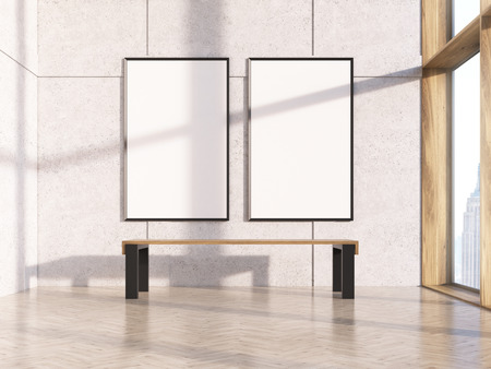 Stock Photo   Two Blank Picture Frames In Interior With Bench, Concrete  Wall, Wooden Floor And New York City View. Mock Up, 3D Rendering