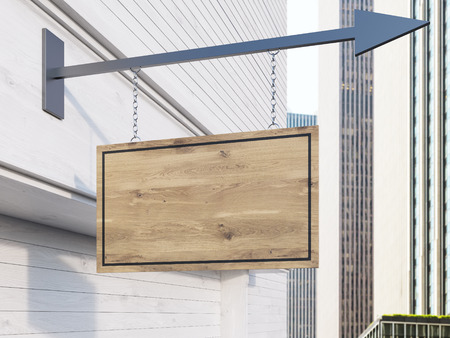 suspended: Concrete building with wooden brown stopper suspended on iron arrow. Mock up, 3D Rendering