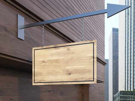 wooden board: Dark wooden building with  brown stopper suspended on iron arrow. Mock up, 3D Rendering