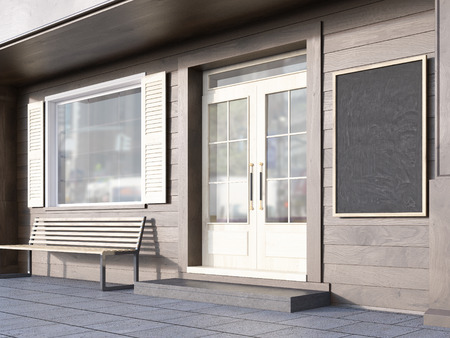 blank chalkboard: Side view of brown plank cafe exterior with blank chalkboard. Mock up, 3D Rendering
