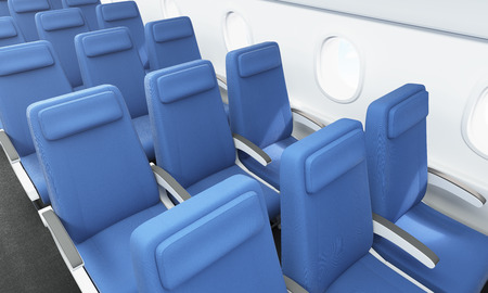 seats: Airplane interior with blue seats and portholes. 3D Rendering Stock Photo