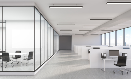 large office: Large office interior with New York city view and blank whiteboard. 3D Rendering Stock Photo