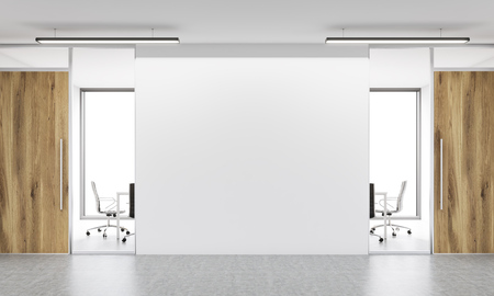 Front view of blank white wall in office  interior. Mock up, 3D Rendering Reklamní fotografie