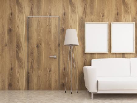 Interieurontwerp met twee lege schilderijlijsten, staande lamp, bank en houten wand met nauwelijks zichtbare deur. Bespotten, 3D-weergave