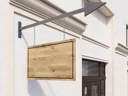 stopper: Side view of concrete building with wooden brown stopper suspended on iron arrow. Mock up, 3D Rendering