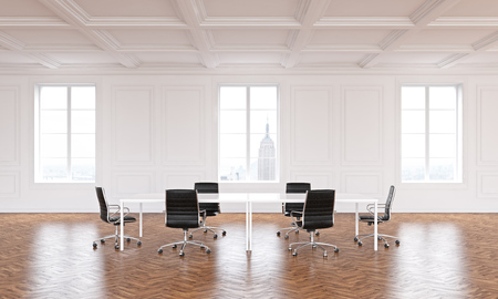 spacious: Spacious conference room interior with wooden floor and several windows with New York city view. 3D Rendering Stock Photo