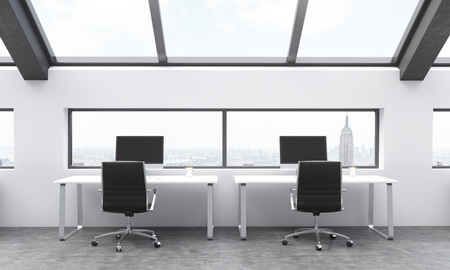 frontview: Frontview of workplaces in concrete coworking area with New York city view. 3D Rendering Stock Photo
