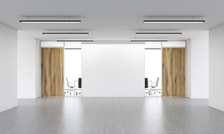 office entrance: Office entrance interior with blank white wall. Mock up, 3D Rendering