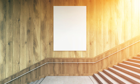 toned: Front view of blank poster on wooden wall and stairs with railing. Toned image. Mock up, 3D Rendering Stock Photo