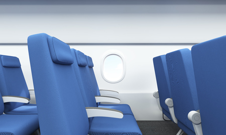 business class travel: Side view of blue seats in airplane interior with white wall and porthole. 3D Rendering