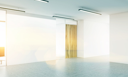 toned: Side view of blank white wall in office interior. Toned image. Mock up, 3D Rendering