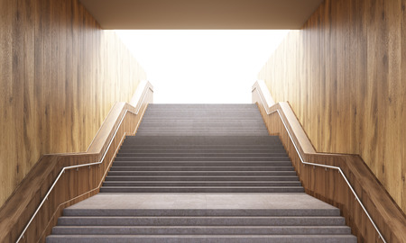 leading: Success concept with concrete and wooden staircase leading upward. 3D Rendering Stock Photo
