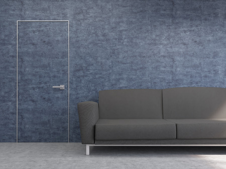 noticeable: Interior design with dark sofa and hardly noticeable door on textured blue wall. Mock up, 3D Rendering