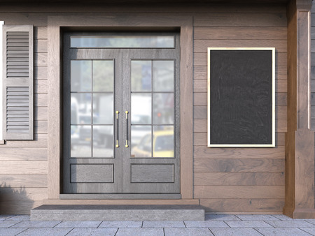 Front view of wooden cafe exterior with blank menu chalkboard. Mock up, 3D Rendering