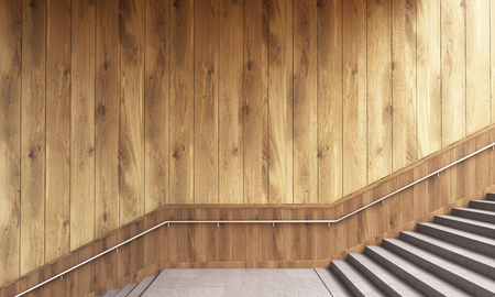 leading the way: Side view of wooden plank wall, railing and staircase. 3D Rendering