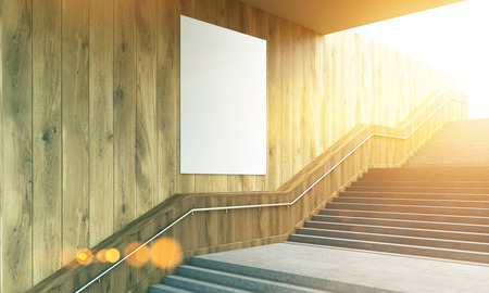 wooden stairs: Side view of blank poster on wooden wall and stairs with railing. Toned image. Mock up; 3D Rendering