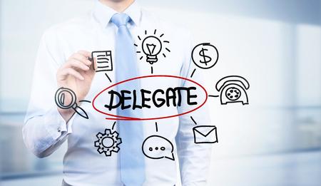 delegate: Businessman drawing abstract delegate sketch