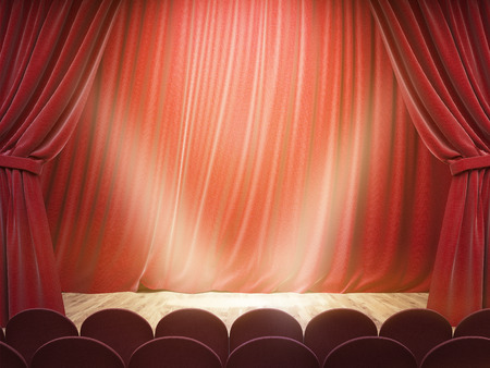 Theater stage with drawn red curtains and limelight. Mock up, 3D Rendering