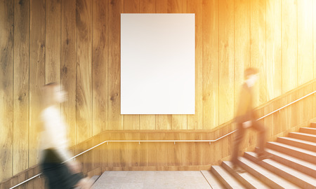 wooden stairs: Side view of blank poster on wooden wall and businesspeople climbing stairs. Toned image. Mock up, 3D Rendering Stock Photo