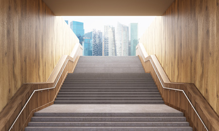 leading: Success concept with concrete and wooden staircase leading to Singapore city. 3D Rendering