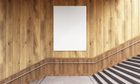 wooden stairs: Front view of blank poster on wooden wall and stairs with railing. Mock up, 3D Rendering Stock Photo