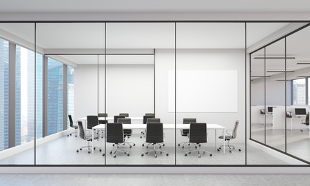 Office interior with blank whiteboard and Singapore city view. 3D Rendering 免版税图像