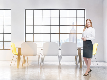 auditor: Business woman standing in conference room interior with New York city view. Leader tutor. Auditor training room. 3D Rendering