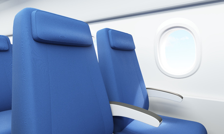economy class: Closeup of blue seats in airplane interior with white wall and porthole with sky view. 3D Rendering