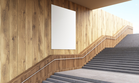 wooden stairs: Side view of blank poster on wooden wall and stairs with railing. Mock up, 3D Rendering