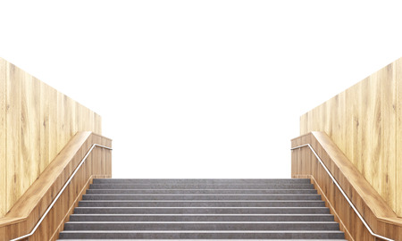 railing: Concrete staircase with railing and wooden walls. consept of success. 3D Rendering Stock Photo