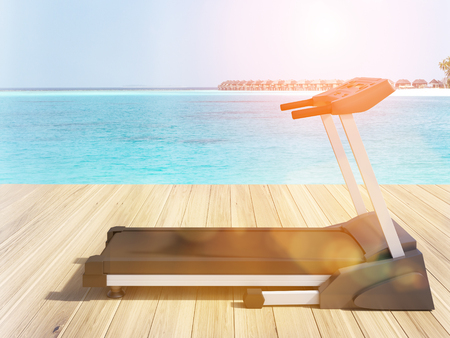 toned: Toned image of treadmill next to the sea. 3D Rendering