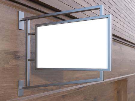 letrero: tapón cuadrado de edificio de madera oscura. Maqueta, 3D Foto de archivo