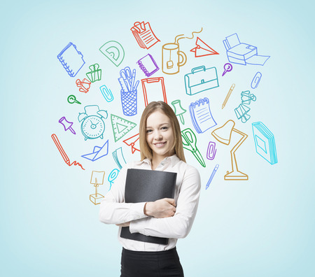 pensive: Businesswoman with document on blue background with office accessory sketch
