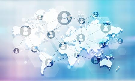 Red social con iconos de personas conectadas en el mapa. Fondo azul
