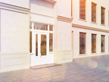 toned: Shop exterior with blank concrete walls. Toned image. Mock up, 3D Rendering Stock Photo