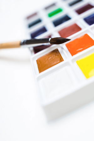 paint palette: Closeup of watercolor paint palette with a brush